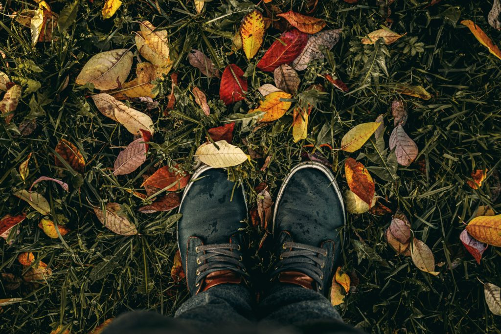 feet wearing black lace-up shoes stand on grass strewn with fall leaves