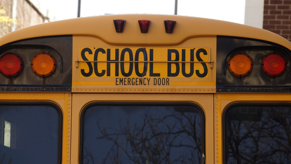 Close up of the top of a school bus