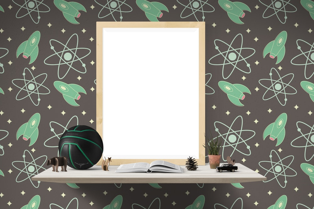 wallpaper that is black and green atoms and spaceships