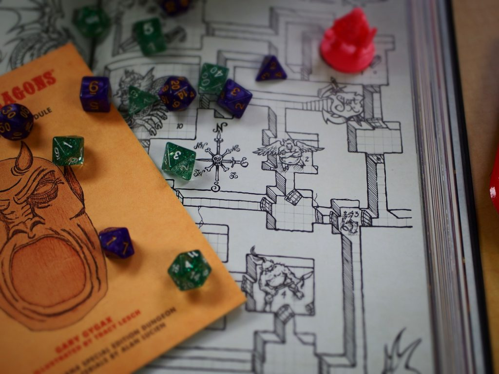 Dice on top of hand drawn map