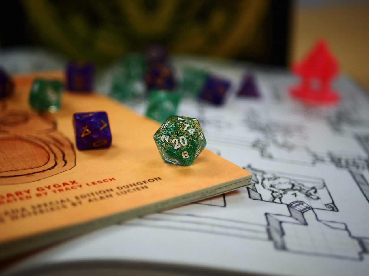 Dice on top of dungeons and dragons game