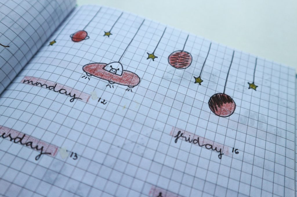 Bullet journal with space theme