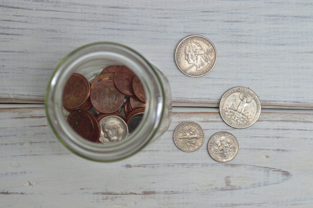 Coins inside of a jar