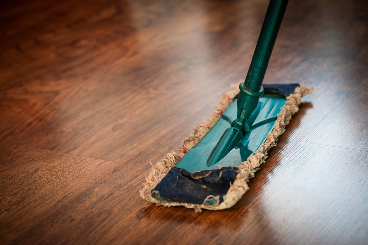 Swiffer on a brown floor