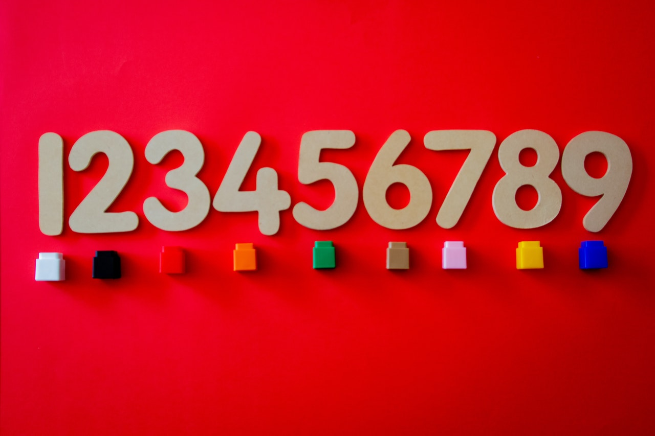 1 through 9 with a small colored cube under each number on a red background