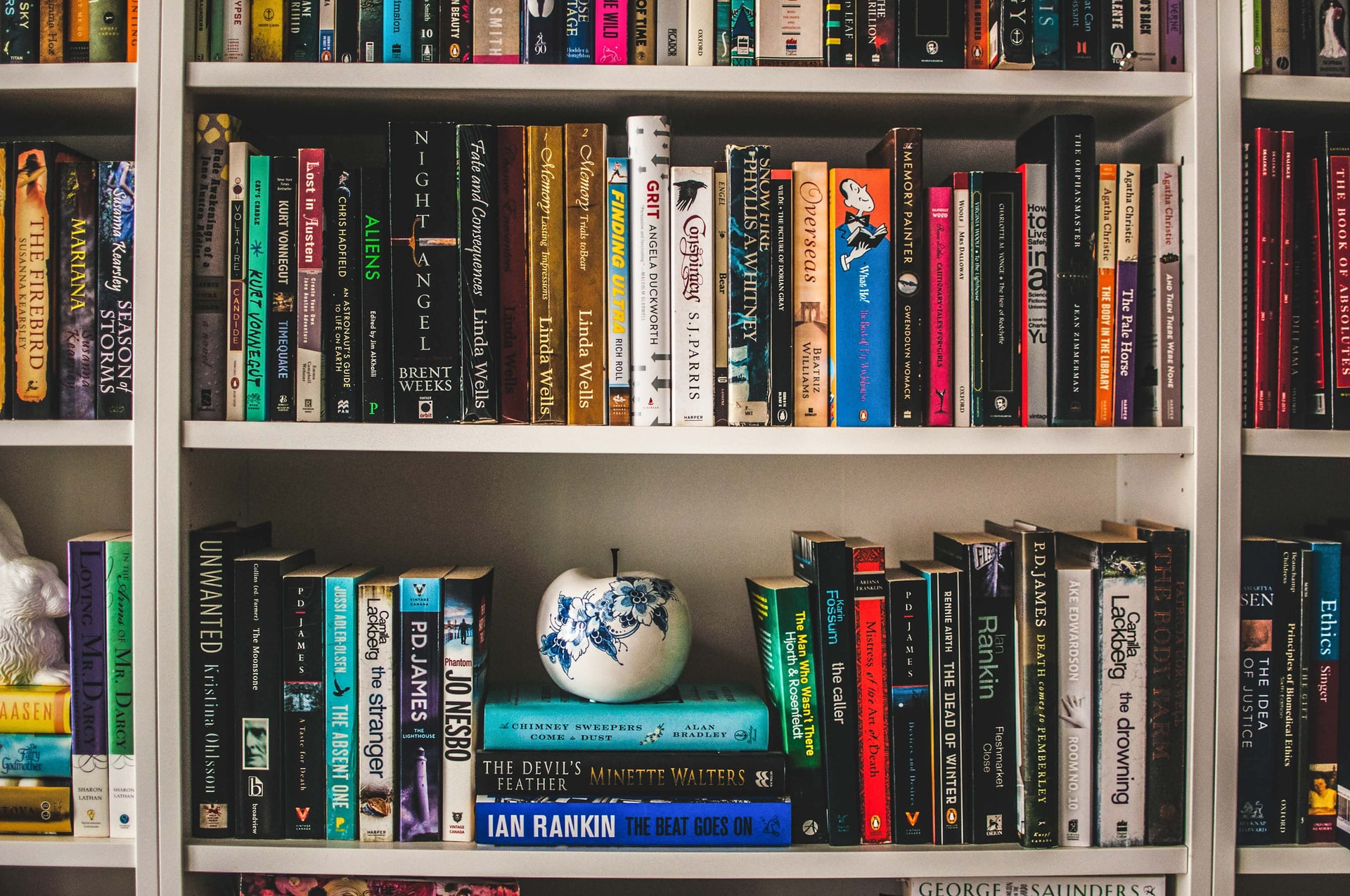 A pot and books on a bookshelf