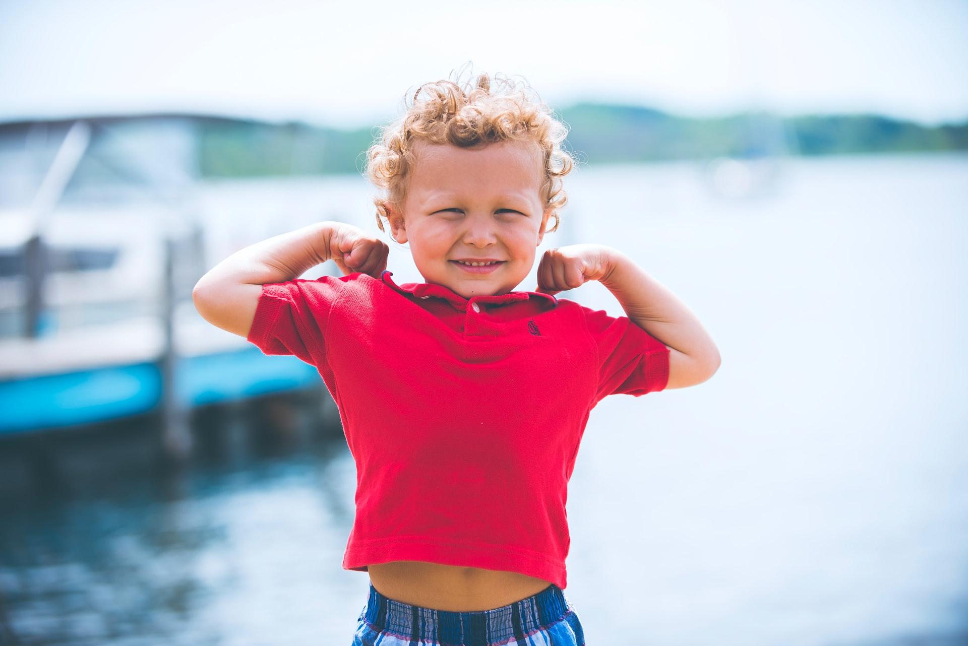 Boy in a red shirt