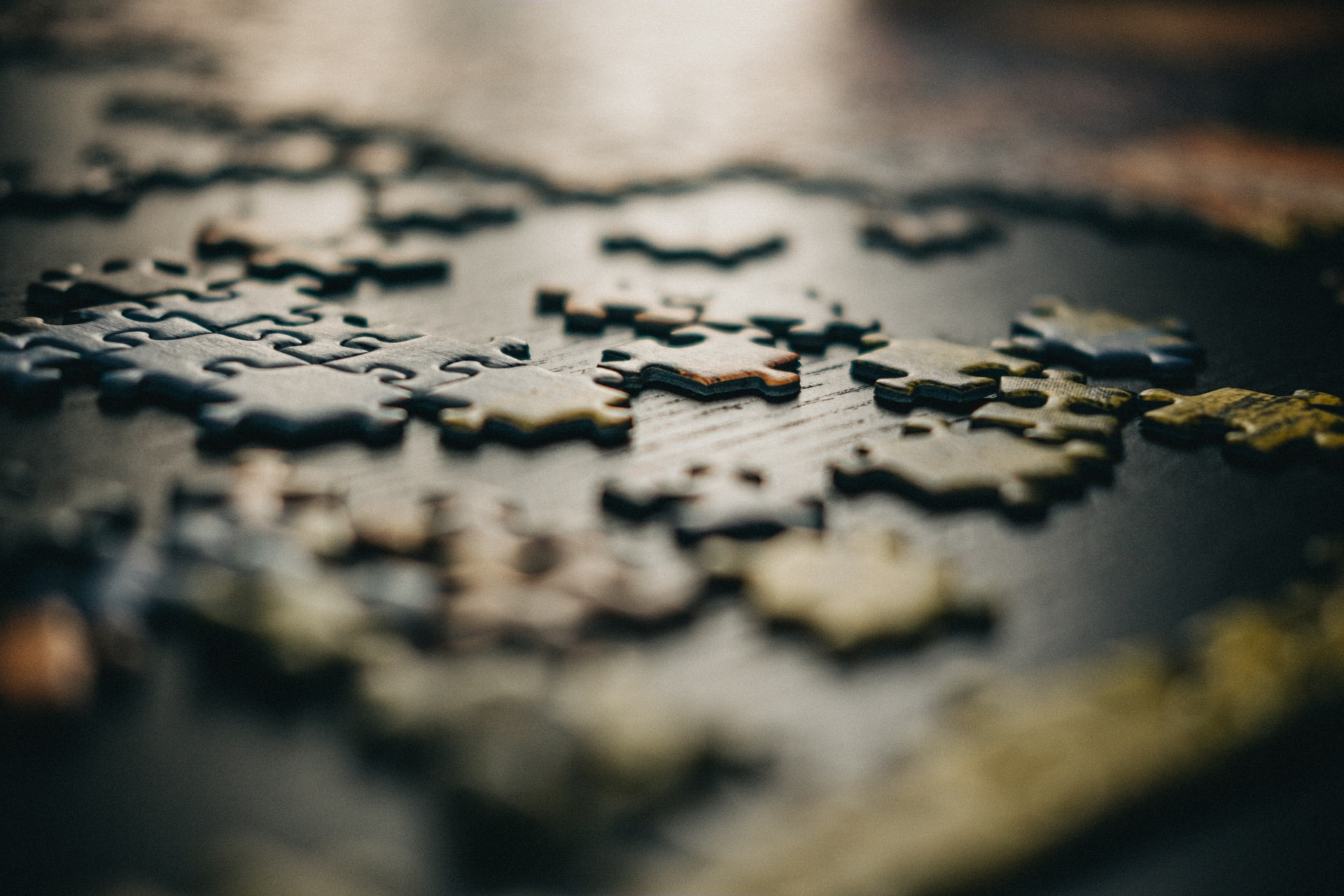 Low angle of puzzle pieces